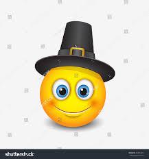 thanksgiving emoticon wearing pilgrim hat stock vector