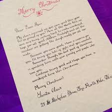 surprise child u0027s calligraphy christmas letter from santa claus
