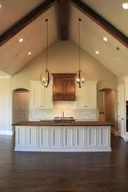 Lighting Vaulted Ceilings Attractive Kitchen Vaulted Ceiling Wood Counter Top Island In
