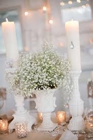 baby s breath centerpiece carnations and baby s breath bow inspiration