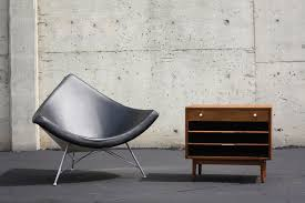 george nelson coconut chair in black leather sold u2014 mid and mod