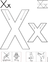 alphabet letter x worksheet standard block font preschool