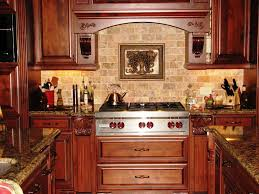 kitchen backsplash ideas with oak cabinets wall mount range hood