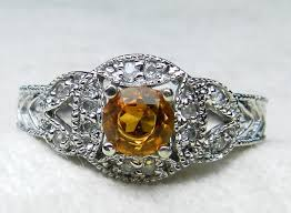 engagement ring art deco engagement ring citrine ring round cut