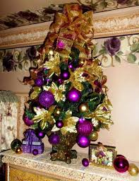 tree decorations purple and gold ne wall