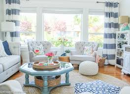 livingroom makeover coastal style blue and white living room lakehouse living room