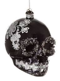 glass skull ornament black white catherine s collection skulls