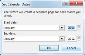 change the dates on a calendar in publisher publisher