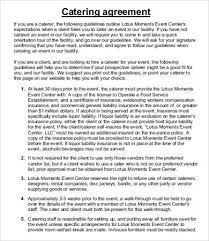 catering agreement template 9 free word pdf format download