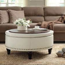table round linen coffee table amazing ottoman design for your