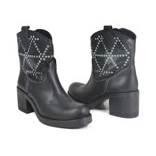 black lace up biker boots ankle biker boots with heel studs and strass in genuine leather