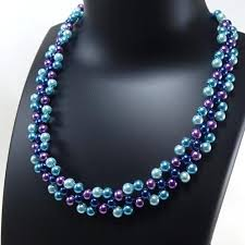 glass pearl necklace images Blue mixed glass pearl beads necklace hobbyrani jpg