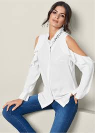 frilly blouse cold shoulder ruffle blouse in white venus
