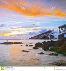 honda st sunset over bridge in florida keys bahia honda st royalty free