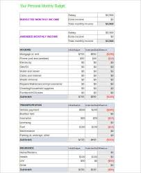 Personal Budget Spreadsheet Template Sle Personal Budget Spreadsheet 10 Exles In Word Pdf Excel