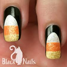 notd sparkly candy corn halloween nail art black cat nails