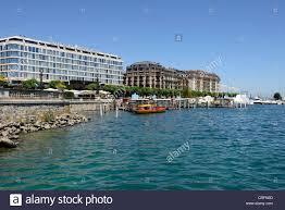 hotel kempinski lake geneva switzerland water front stock photo