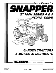 snapper lawn mower gt180h series 4 user guide manualsonline com