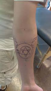 stencil of the ouroboros homunculus tattoo from fullmetal