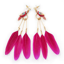 funky earrings funky magenta parrot feather earrings in gold plating