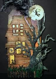 tim holtz haunted house die with spooky tree and fence halloween
