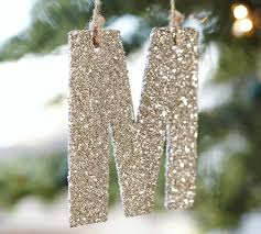 silver german glitter letter ornaments pottery barn