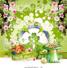 vector clip art of a happy st patricks day banner with a shamrock