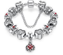 vintage heart bracelet images Silver 925 vintage heart crown bead charm bracelet free shipping png
