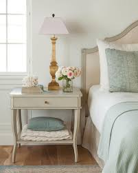 light gray wood french nightstand with gold leaf lamp french