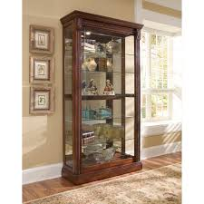 cherry curio cabinets cheap medallion cherry finish two way sliding door curio cabinet brown