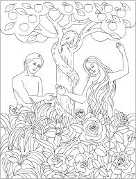 adam and eve in the garden of eden bible coloring page lds or