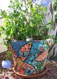 unique plant pots accessories astonishing decorative blue mosaic plant pots