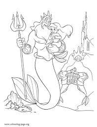 mermaid young princess ariel king triton coloring
