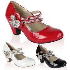 Wedding Shoes Size 9 21n Girls Patent Kids Diamante Low Heel Mary Jane Party Wedding