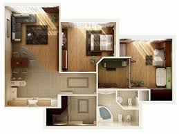Bedroom Architecture Design 20 Awesome 3d Apartment Plans With Two Bedrooms Part 2