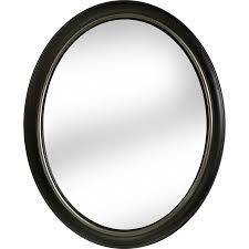shop allen roth oil rubbed bronze polished oval wall mirror at