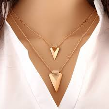 unique charm 2017 unique charm brand design gold color 2 layer clavicle chain