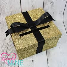 cardbox glitter gold and black gift money box for any event