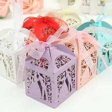 bride and groom favor holders laser cut candy box with ribbon