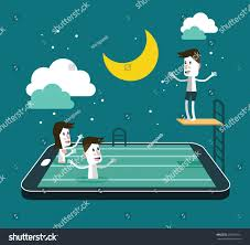 Smart Pool Table Swimming Jumping Smart Device Pool Social Stock Vector 209993161
