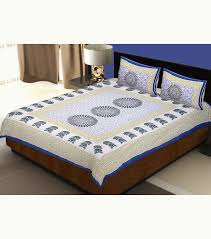 Throw Pillow Covers Online India Buy Blue Sanganeri Printed Double Bed Sheet With 2 Pillow Cover