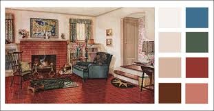 traditional living room 1920s earth tone color scheme 1928