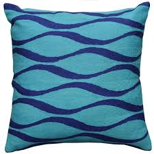 Purple Sofa Pillows by Contemporary Waves Aqua Turquoise I Decorative Pillow Cover Wool