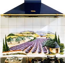 fresque carrelage mural paysage sur faïence décor moderne fresque sur carrelage art de la