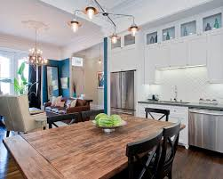 kitchen living room combo yet defined space different paint color