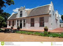 wine farmhouse in colonial style south africa royalty free stock