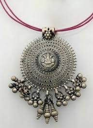silver vintage necklace images Sterling silver antique temple pendant insha jewellery mumbai jpg