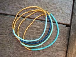 simple beaded bracelet images Simple stretchy seed bead bracelet gold and blue bracelet jpg