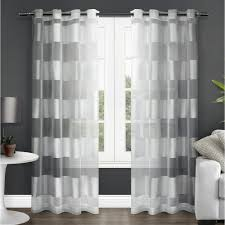 Winter Window Curtains Navarro Winter White Striped Sheer Grommet Top Window Curtain