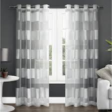 Winter Window Curtains Navarro Winter White Striped Sheer Grommet Top Window Curtain